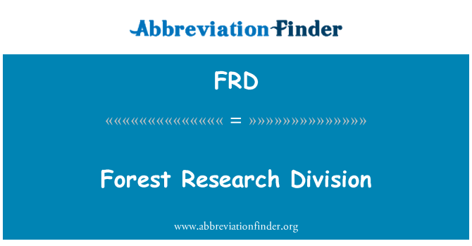 FRD: Forest Research Division