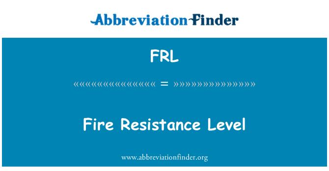 FRL: Fire Resistance Level