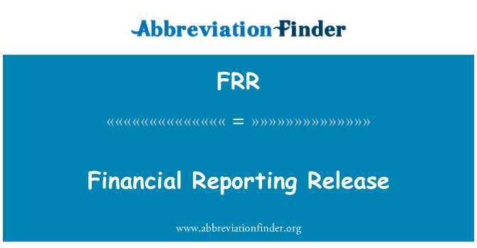 FRR: Financial Reporting Release