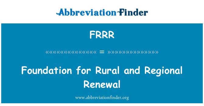 FRRR: Foundation for Rural and Regional Renewal