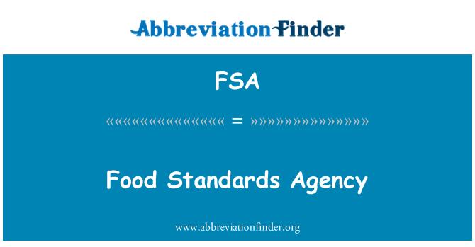 FSA: وكالة المعايير الغذائية
