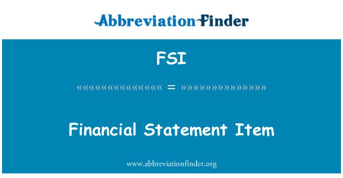 FSI: Financial Statement Item