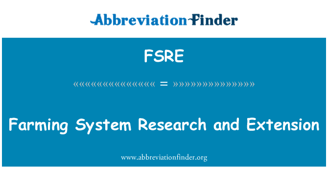 FSRE: Farming System Research and Extension