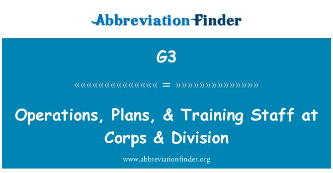 G3: Operaciones, planes & personal del capacitación en el cuerpo de & división