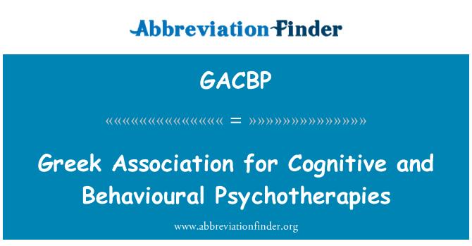 GACBP: Greek Association for Cognitive and Behavioural Psychotherapies