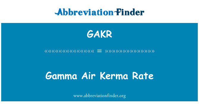 GAKR: Gamma Air Kerma Rate