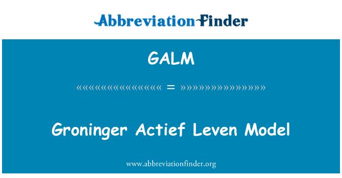 GALM: Groninger Actief Leven Model
