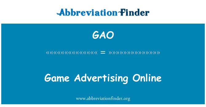 GAO: Game Advertising Online