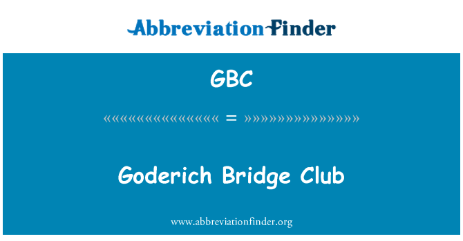 GBC: Goderich Bridge Club