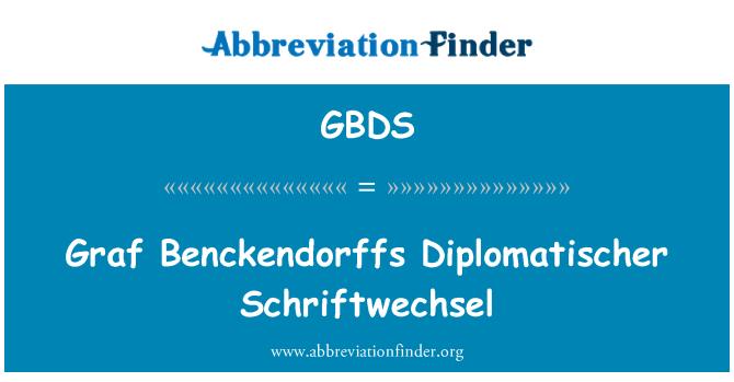 GBDS: Graf Benckendorffs Diplomatischer Schriftwechsel