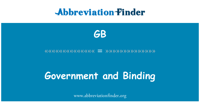 GB: Government and Binding