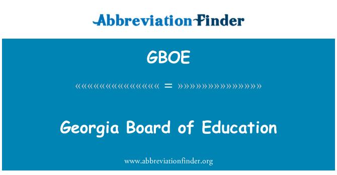 GBOE: Georgia Board of Education