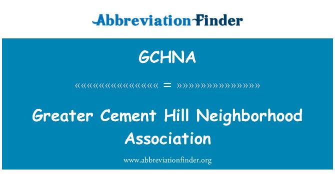 GCHNA: Greater Cement Hill Neighborhood Association