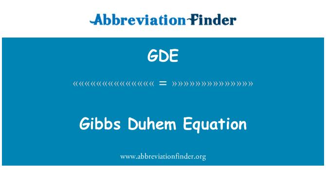 GDE: Gibbs Duhem Equation