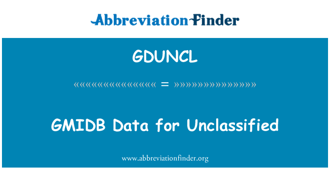 GDUNCL: GMIDB Data for Unclassified