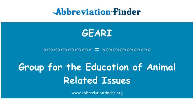 GEARI: Grupe za edukaciju životinja povezanih pitanja