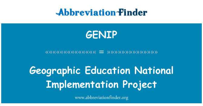 GENIP: Geographic Education National Implementation Project