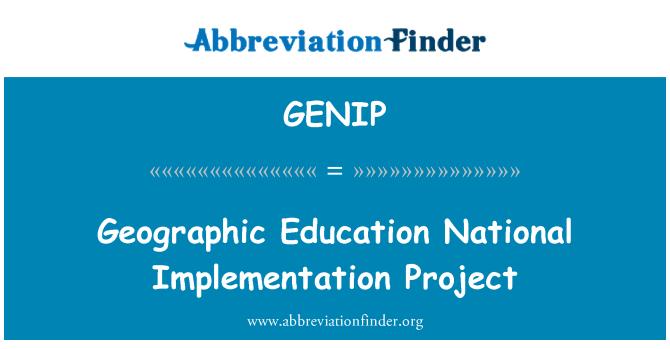 GENIP: Geografického vzdělávání národní prováděcí projekt