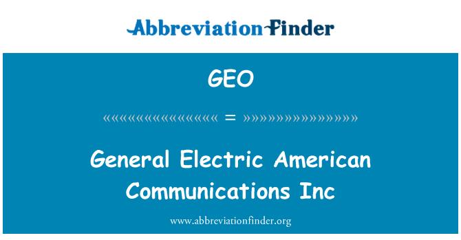 GEO: General Electric Amerika komunikasi Inc