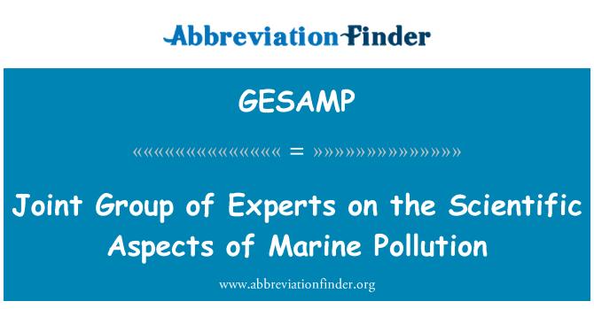 GESAMP: Grupo mixto de expertos sobre los aspectos científicos de la contaminación marina