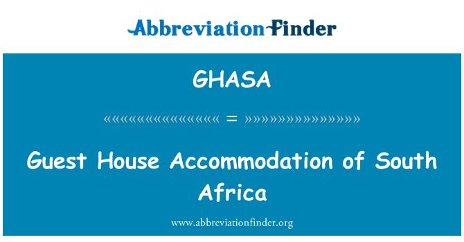 GHASA: Casa de huéspedes de Sudáfrica