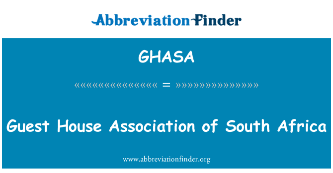 GHASA: Guest House Association of South Africa