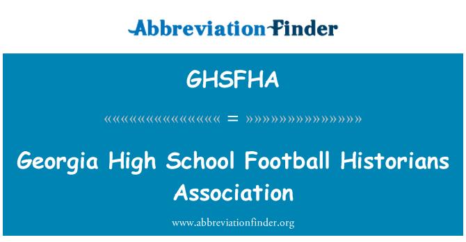 GHSFHA: Georgia High School Football Historians Association