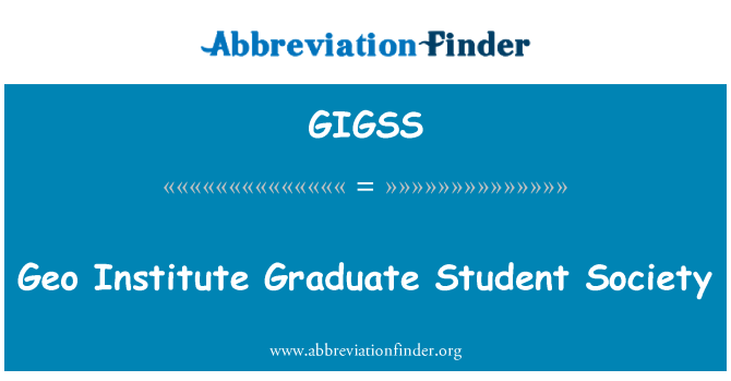 GIGSS: Geo Institute Graduate Student Society