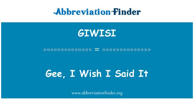 GIWISI: Tanrım, Keşke ben söyledim