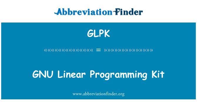 GLPK: GNU Linear Programming Kit