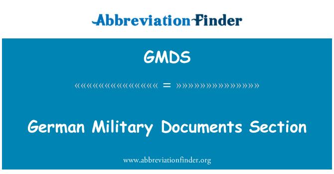 GMDS: Alman askeri belgeler bölümünde