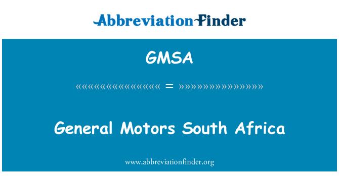 GMSA: General Motors Sudáfrica