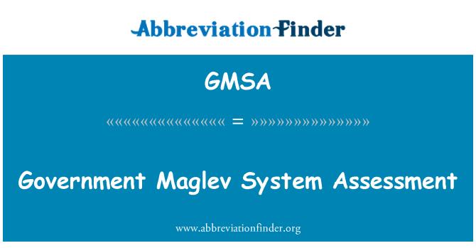 GMSA: Government Maglev System Assessment