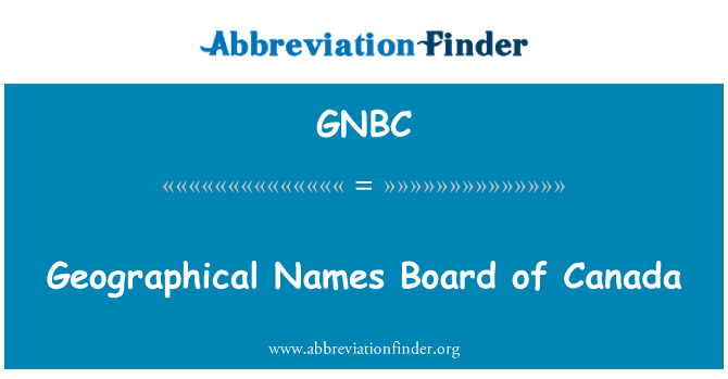 GNBC: Geographical Names Board of Canada