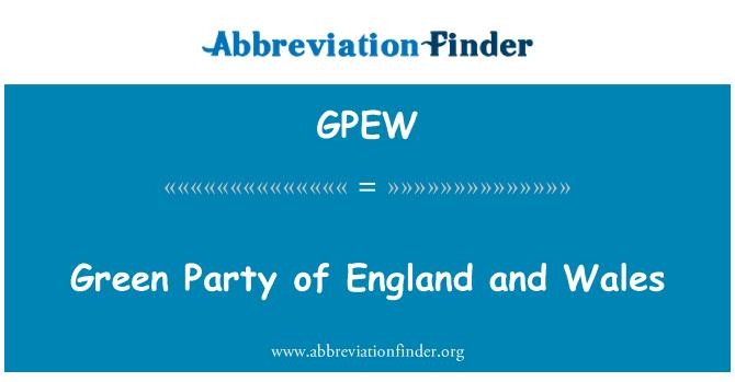 GPEW: Partido verde de Inglaterra y Gales