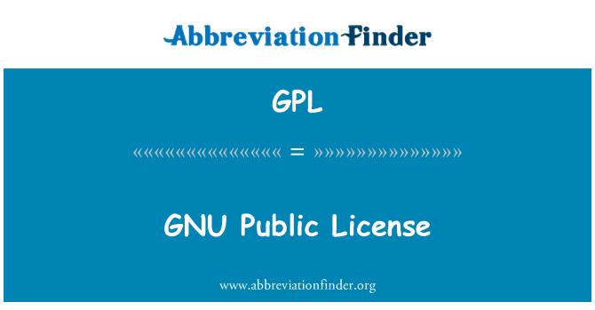GPL: GNU Public License