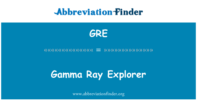 GRE: Gamma Ray Explorer