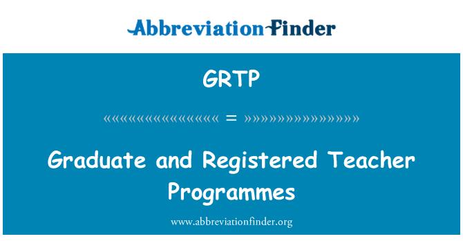 GRTP: Programas de personal docente graduado y registrado