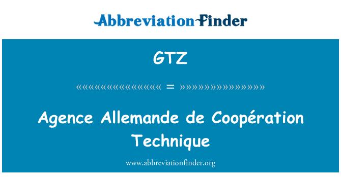 GTZ: Agence Allemande de Coopération Technique