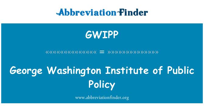 GWIPP: George Washington Institute of Public Policy