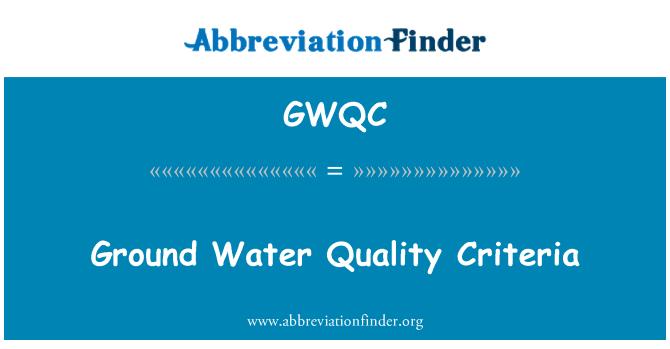 GWQC: Ground Water Quality Criteria