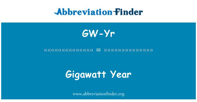 GW-Yr: Gigawatt Year