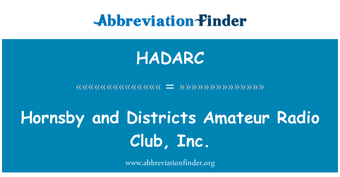HADARC: Hornsby and Districts Amateur Radio Club, Inc.