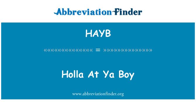 HAYB: Holla At Ya Boy