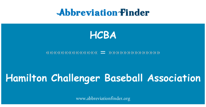 HCBA: Hamilton Challenger Baseball Association