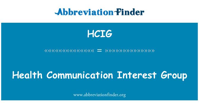 HCIG: Health Communication Interest Group