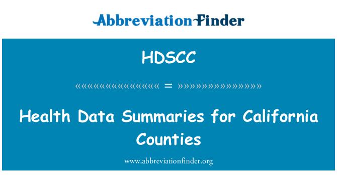 HDSCC: Health Data Summaries for California Counties
