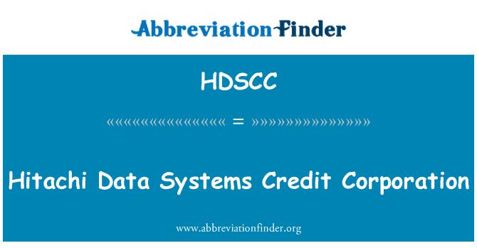 HDSCC: Hitachi Data Systems Credit Corporation