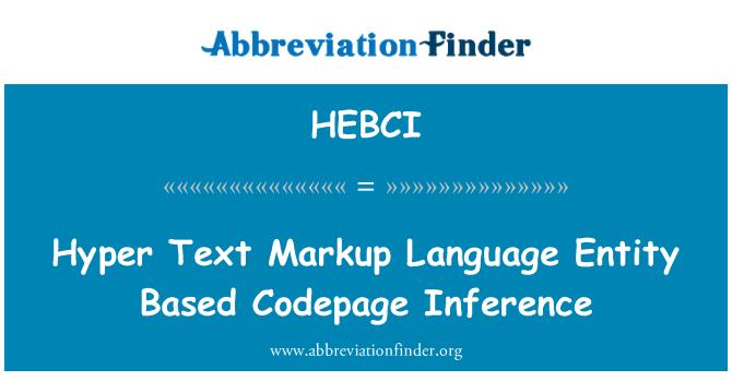 HEBCI: Hyper Text Markup lenguaje entidad base de inferencia de la página de códigos