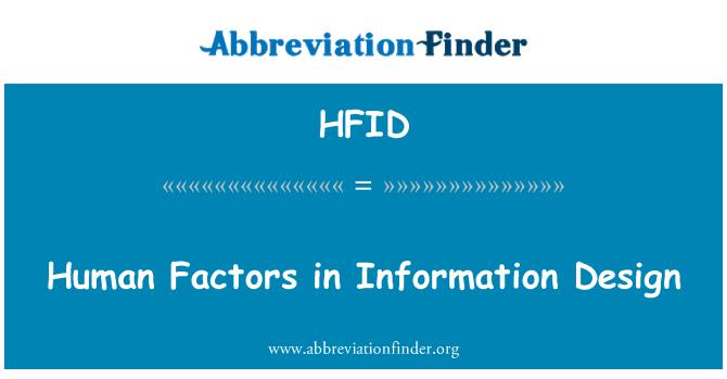 HFID: Human Factors in Information Design